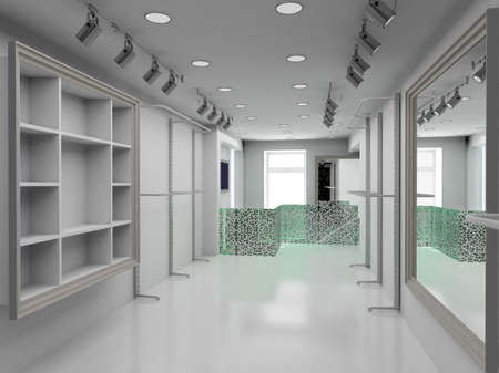 boutiques: Modern design interior of shop. 3D render