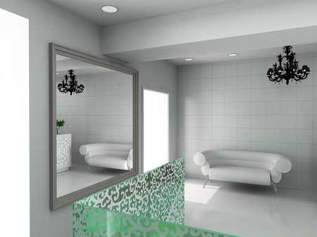 boutique display: Modern design interior of shop. 3D render