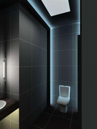 Modern design interior of toilet. 3D render photo