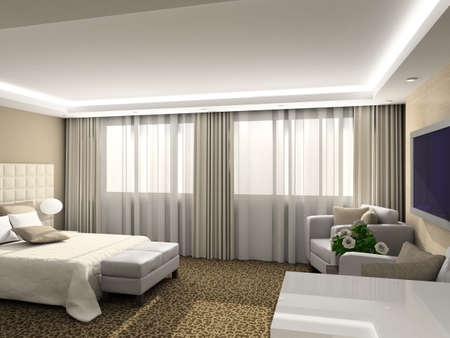 luxury hotel room: Modern design interior of bedroom. 3D render Stock Photo