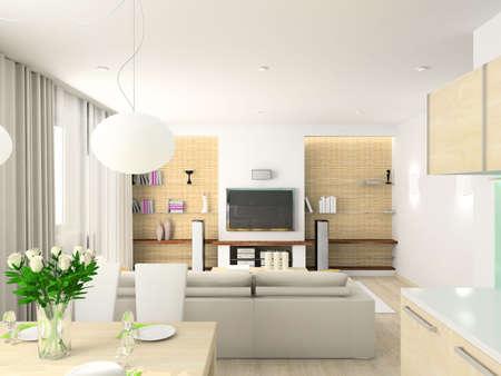 grey rug: Modern design interior of living-room. 3D render