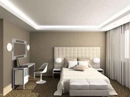 hotel bedroom: Modern design interior of bedroom. 3D render Stock Photo