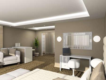 Modern design interior of bedroom. 3D render Stock Photo - 4381897