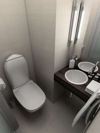 lighting technician: Modern design interior of toilet. 3D render Stock Photo