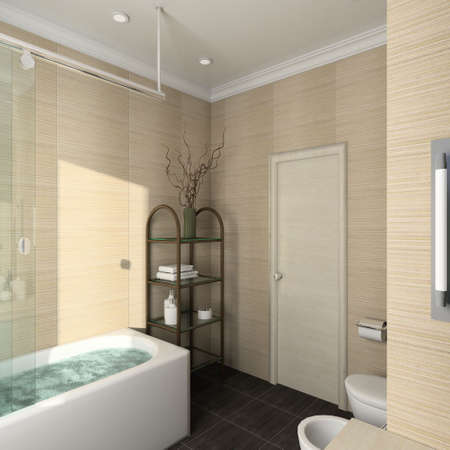 Modern design interior of bathroom. 3D render photo