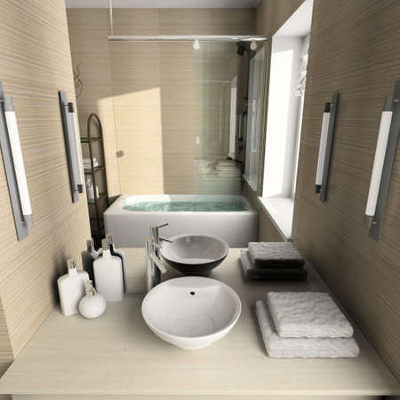 sanitary: Modern design interior of bathroom. 3D render Stock Photo