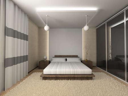 Iinter of modern bedroom. 3D render Stock Photo - 4381871