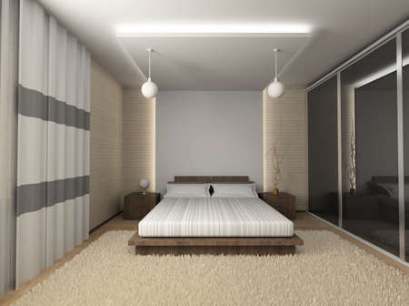 Iinterior of modern bedroom. 3D render Stock Photo - 4381871