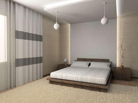 bed frame: Iinterior of modern bedroom. 3D render