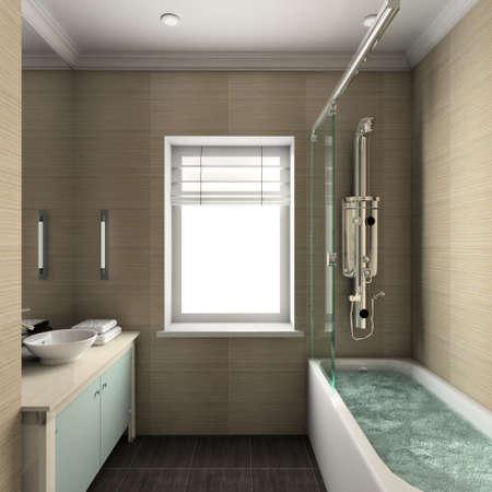 premise: Modern design interior of bathroom. 3D render Stock Photo