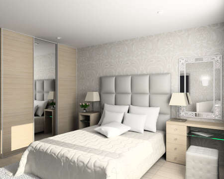 Iinterior of modern bedroom. 3D render Stock Photo - 4381909
