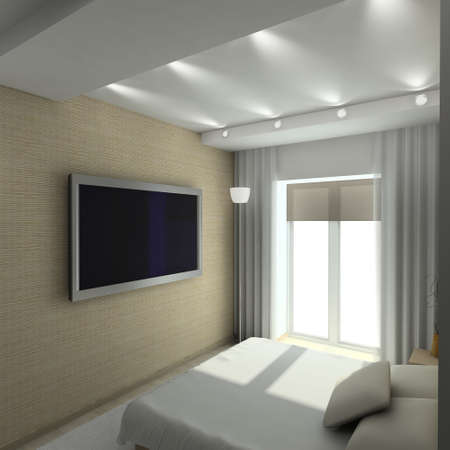 Modern design interior of bedroom. 3D render Imagens