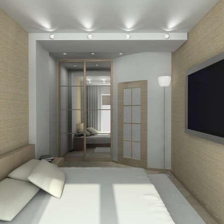 Modern design interior of bedroom. 3D render Stock Photo - 4381855