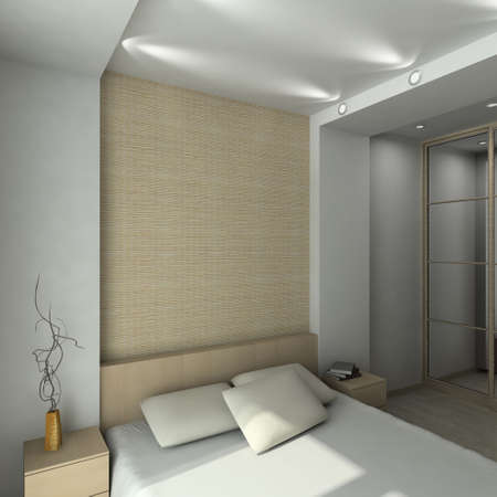 Modern design inter of bedroom. 3D render Stock Photo - 4381808