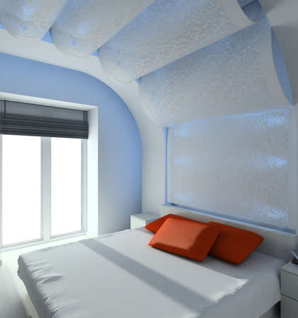 Modern design interior of bedroom. 3D render Stock Photo - 4381908