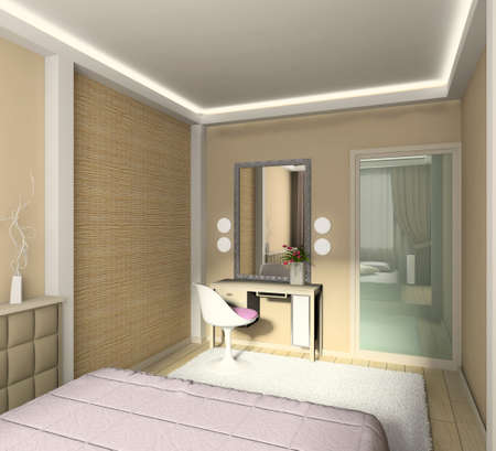 Modern design interior of bedroom. 3D render Stock Photo - 4381905