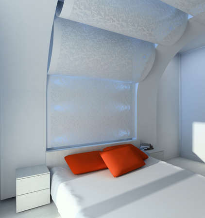 Modern design interior of bedroom. 3D render Stock Photo - 4392627