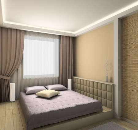 Modern design interior of bedroom. 3D render Stock Photo - 4392605