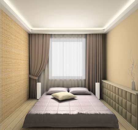 Modern design interior of bedroom. 3D render photo
