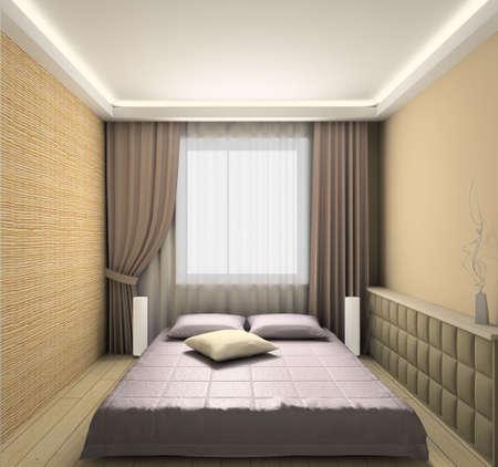Modern design interior of bedroom. 3D render Stock Photo - 4392609