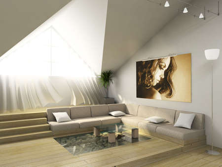3D render. Modern room in the big house. photo