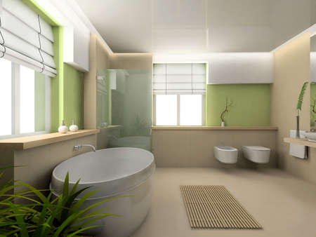 Iinterior of modern bathroom. 3D render photo