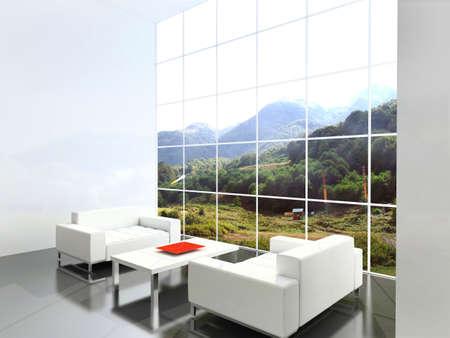 Modern interior. 3D render. Stock Photo - 4392617
