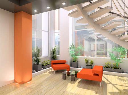Modern interior. 3D render. Living-room. photo