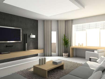 Modern inter. 3D render. Living-room. Exclusive design. Stock Photo - 4392635