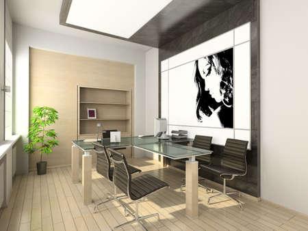 window shades: Design of modern office. Hi-tech interior. 3D render.