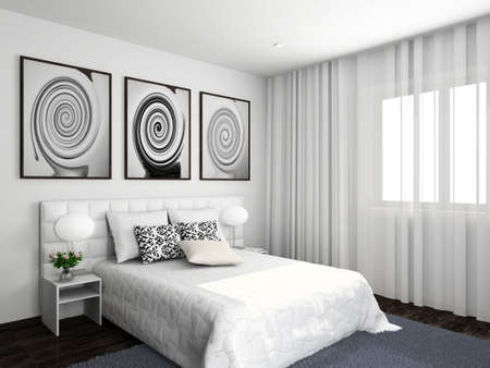 Modern interior. 3D render. Bedroom. Exclusive design. photo