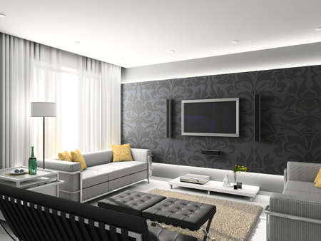 living apartment: Modern interior. 3D render. Living-room. Exclusive design.