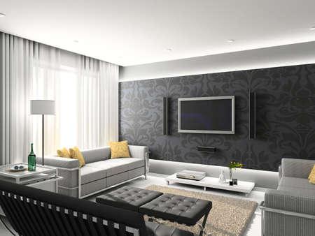 living room interior: Modern interior. 3D render. Living-room. Exclusive design.