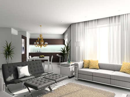 Modern interior. 3D render. Living-room. Exclusive design. Stock Photo - 4414646