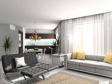 designer chair: Modern interior. 3D render. Living-room. Exclusive design.