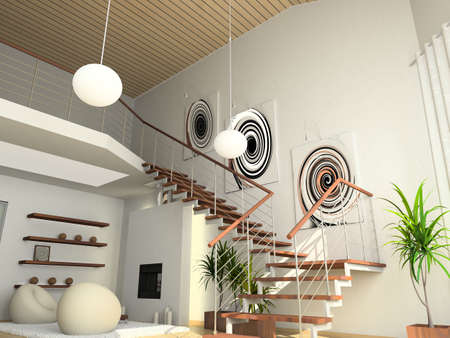 staircase structure: modern comfortable interior with a fire-place. 3D render
