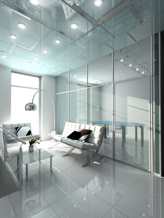 architect office: Modern interior. 3D render. Office. Exclusive design. Stock Photo