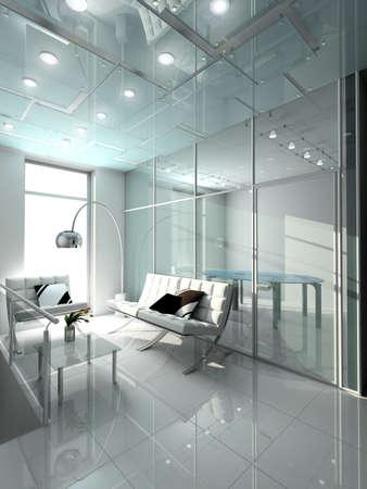 vestibulos: Un interior moderno. 3D render. Oficina. Dise�o exclusivo. Foto de archivo