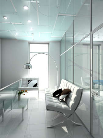 haus beleuchtung: Moderne Innenraum. 3D Render. B�ro. Exklusives Design.