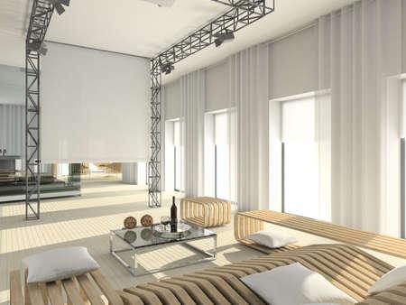 grey rug: Modern interior. 3D render. Living-room. Exclusive design.