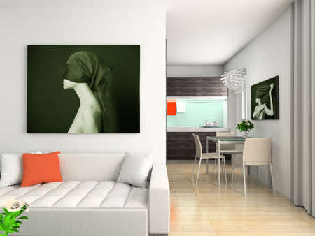 Modern interior with the fashionable picture. Stock Photo - 4404766