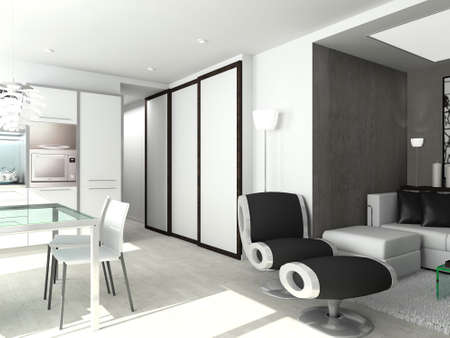 modern comfortable interior with kitchen. 3D render Stock Photo - 4414578