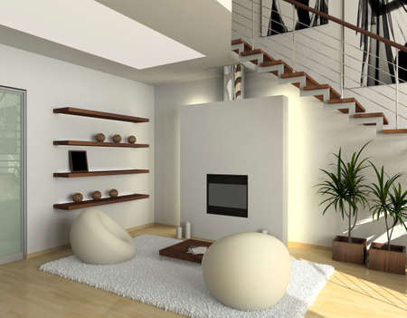 modern comfortable interior with a fire-place. 3D render