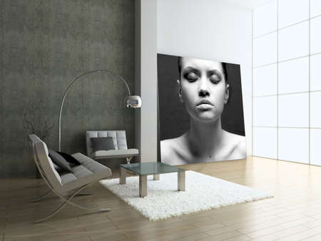 designer chair: Modern interior with portrait. 3D render. Living-room.