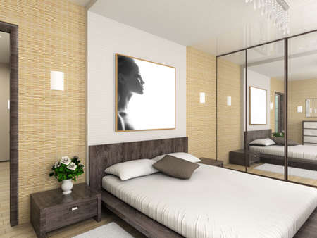 muebles de madera: Un interior moderno. 3D render. Dormitorio. Dise�o exclusivo.