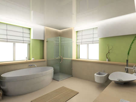 Modern interior. 3D render. Bathroom. Exclusive design. photo