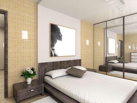 bed frame: Modern interior. 3D render. Bedroom. Exclusive design.