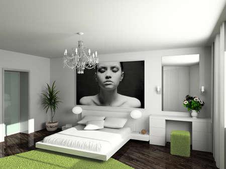 Modern inter. 3D render. Bedroom. Exclusive design. Stock Photo - 4505989