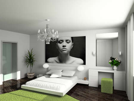 Modern interior. 3D render. Bedroom. Exclusive design. Stock Photo - 4505989