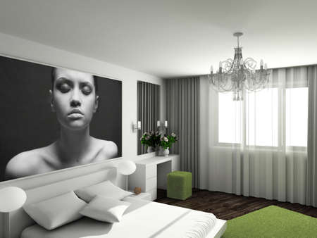 modern lamp: Modern interior. 3D render. Bedroom. Exclusive design.